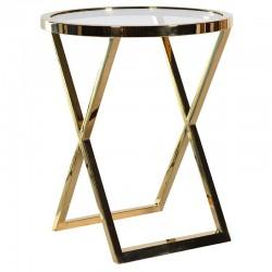 Okrągły stolik METROPOLIS S Gold Clear
