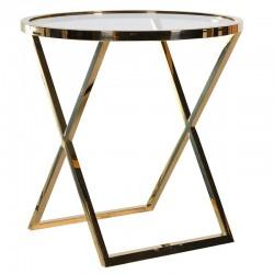 Okrągły stolik METROPOLIS M Gold Clear