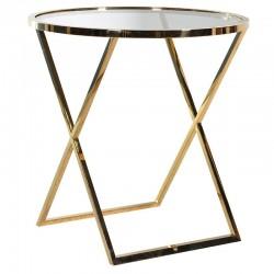 Okrągły stolik METROPOLIS L Gold Clear
