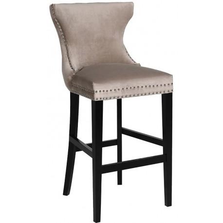 Aksamitne Beżowe Pikowane Krzesło Barowe Hoker Inspirodesignpl