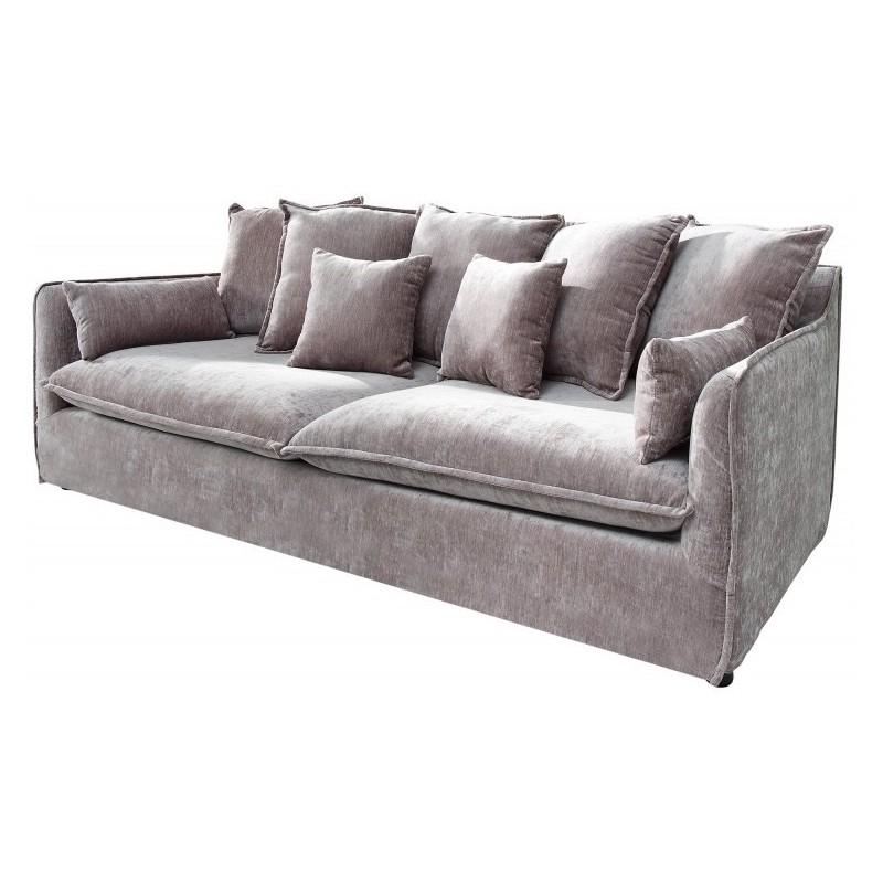 Taupe Velvet Sofa: SZARA WELUROWA SOFA VELVET TAUPE
