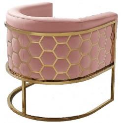 Fotel MIELE różowo złoty