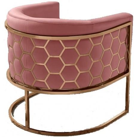Fotel MIELE różowo miedziany
