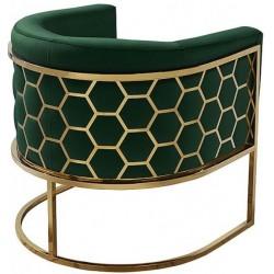 Fotel MIELE szmaragdowo złoty