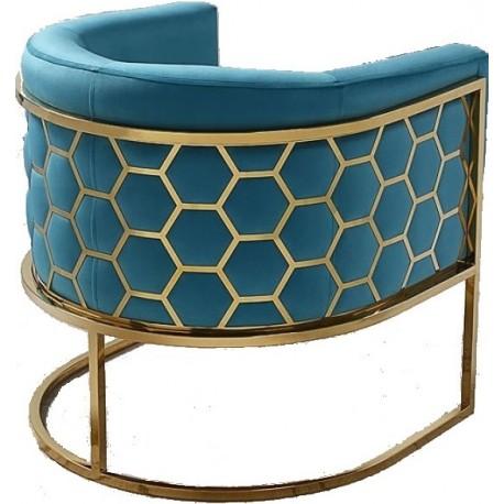 Fotel MIELE niebiesko złoty