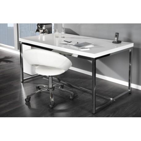 Duże nowoczesne biurko SELECTED CHROM I BIAŁY POŁYSK